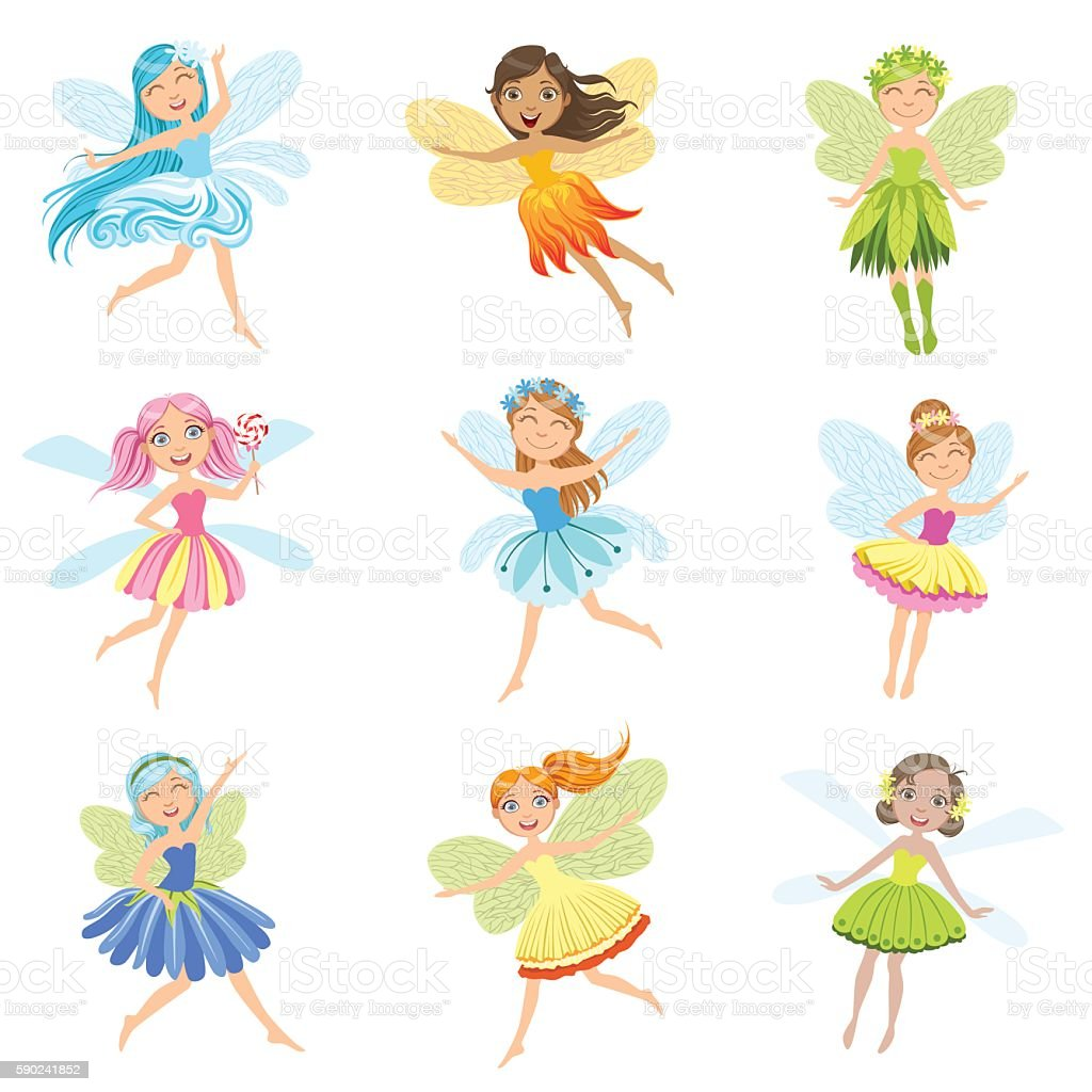 Cute Fairies In Pretty Dresses Girly Cartoon Characters Collection vector art illustration