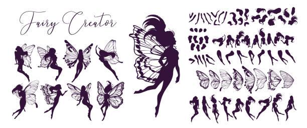 Arte de hadas lindo. Hermosa colección de siluetas hadas, pequeño conjunto de hadas. Ilustración vectorial dibujada a mano - ilustración de arte vectorial
