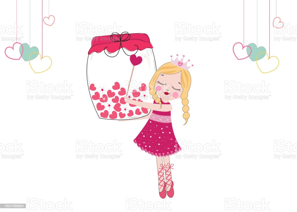 Cute Fairy Girl Heartfilled Jar Happy Valentines Day Vector