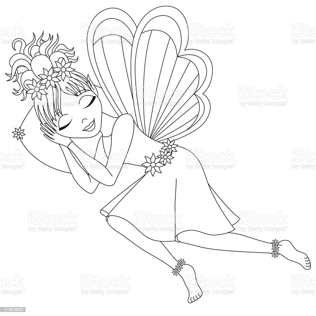 Ilustración de Linda Hada Se Duerme En Almohada Libro Para Colorear ...