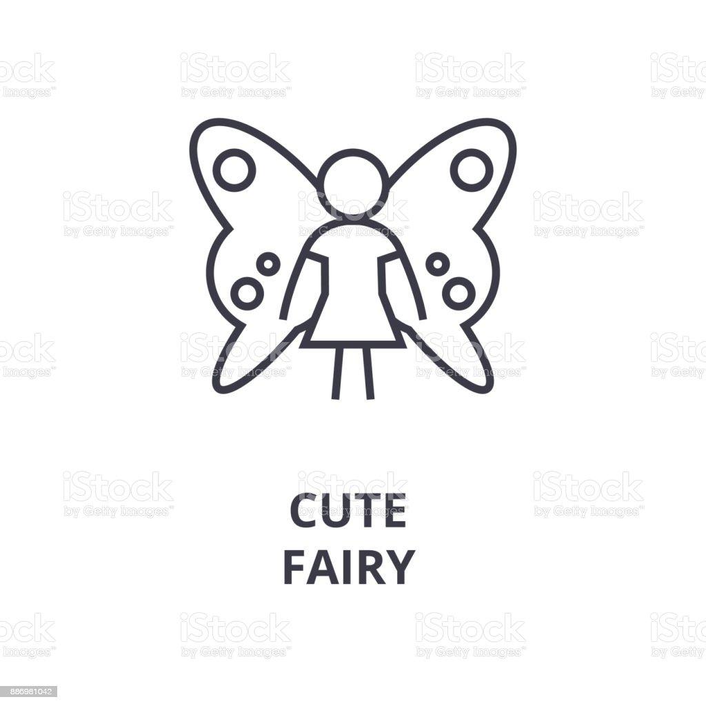 cute fairy line icon, outline sign, linear symbol, vector, flat illustration vector art illustration