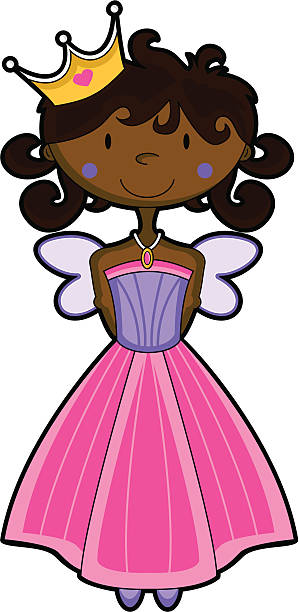 Cute Fairy Princess Character with Crown vector art illustration