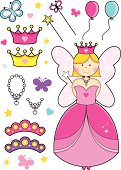 Sweet colorful fairy princess with all her accessories; balloons, necklaces, wands, butterflies, tiaras and crowns on a stars and hearts background.