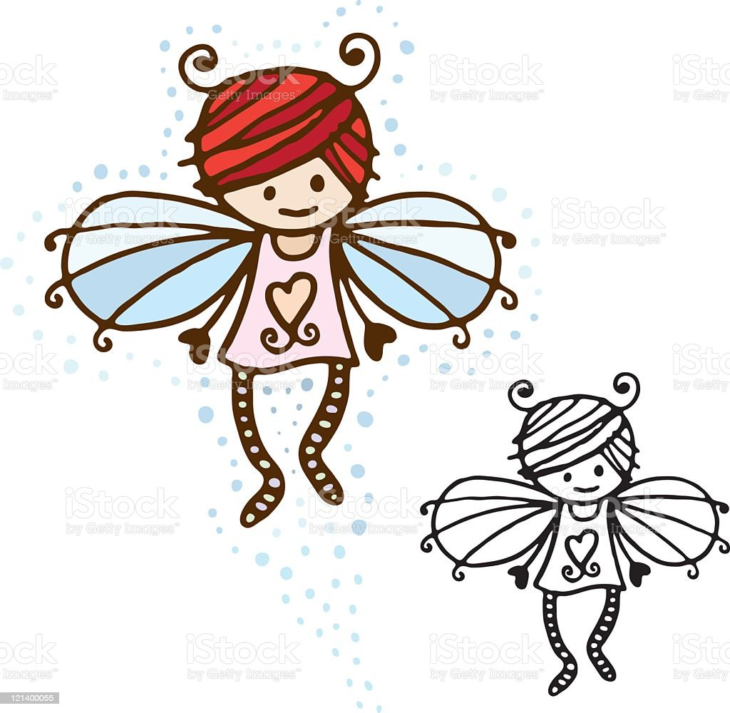 Cute Fairy vector art illustration
