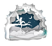 Vector layered paper cut craft style fairytale composition of cute magical fairy silhouette sitting on tree branch, night starry sky.