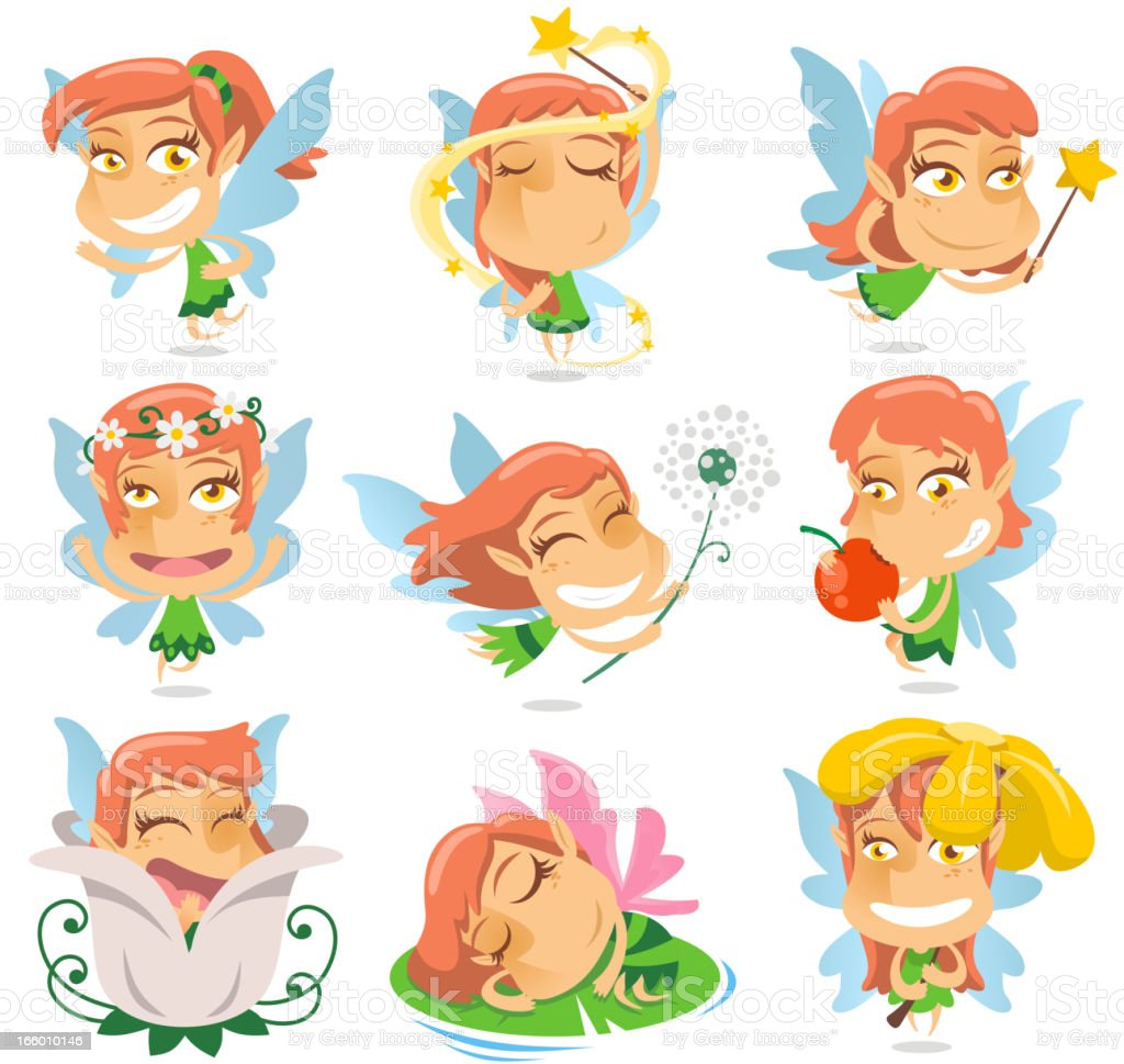 Cute Fairy with wand and flying wings magic royalty-free stock vector art