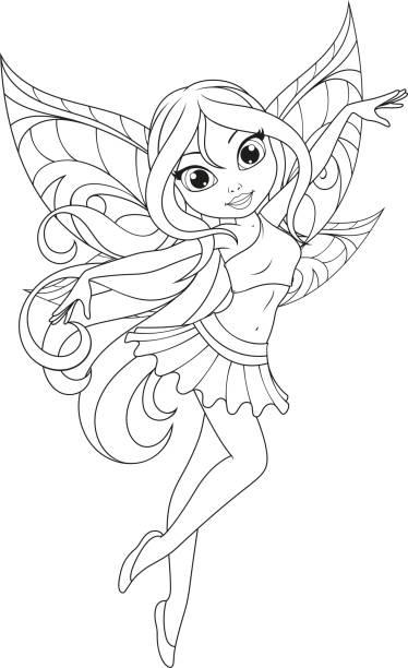 翼でかわいい妖精 - お絵かき点のイラスト素材/クリップアート素材/マンガ素材/アイコン素材