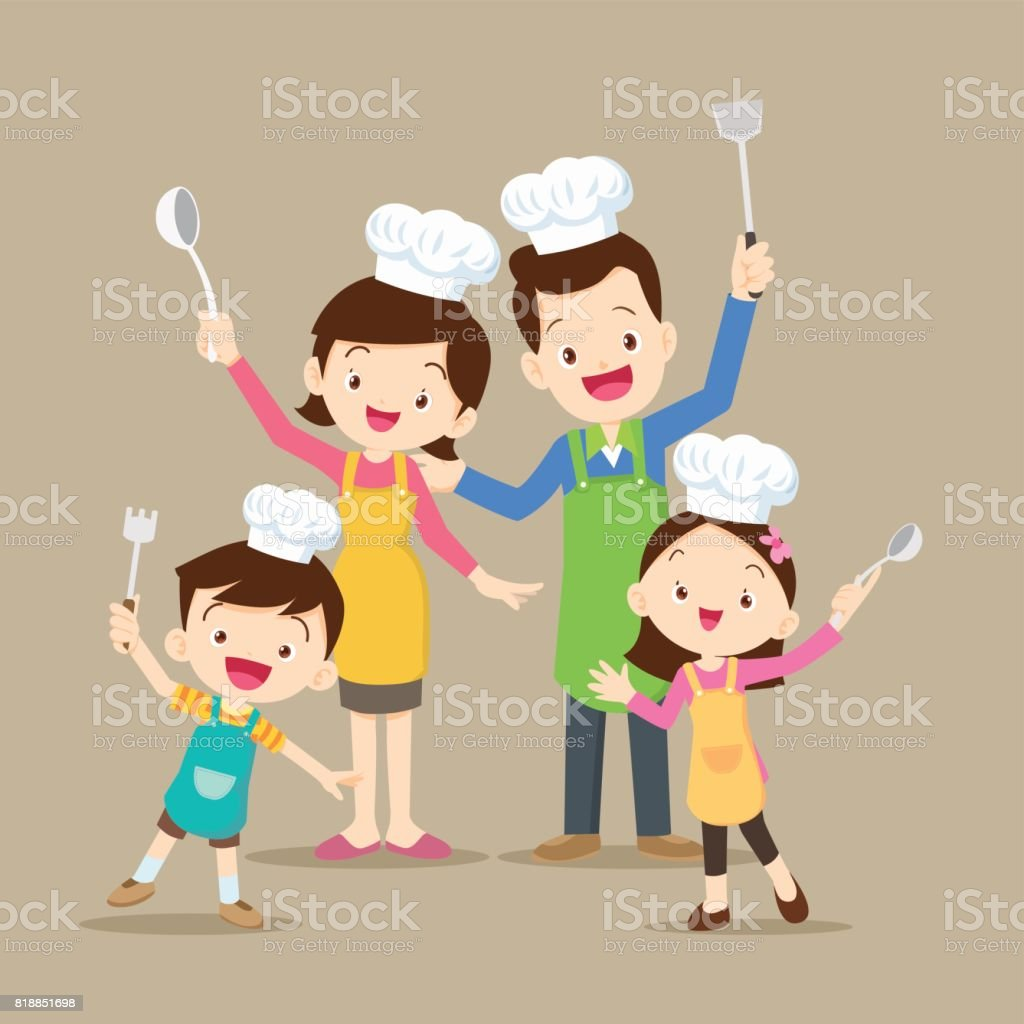 Cute family cooking vector art illustration