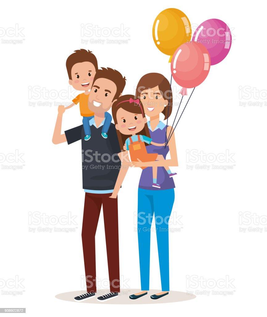 かわいい家族の幸せな文字 ベクターアートイラスト