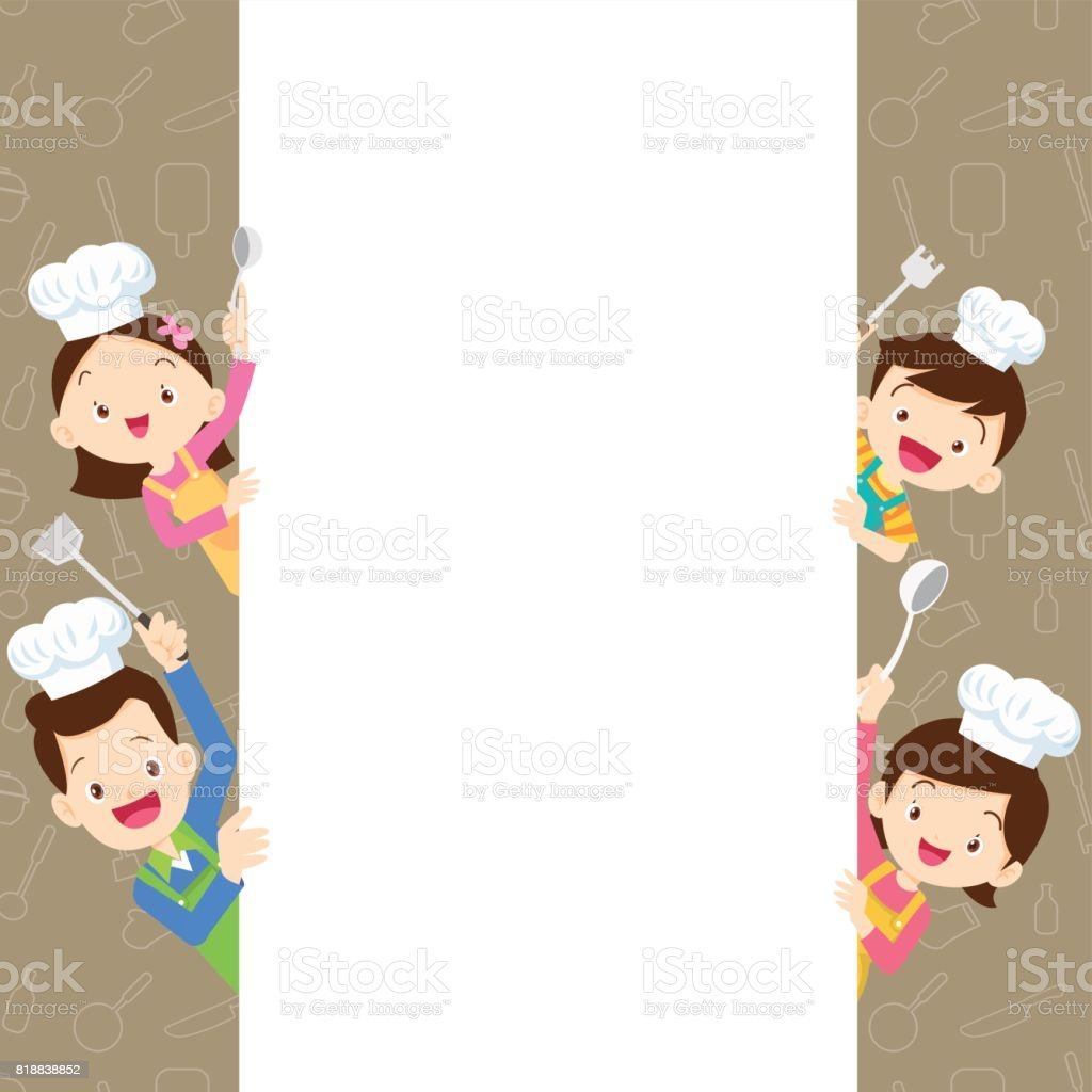 Cute family happy cooking with space frame vector art illustration