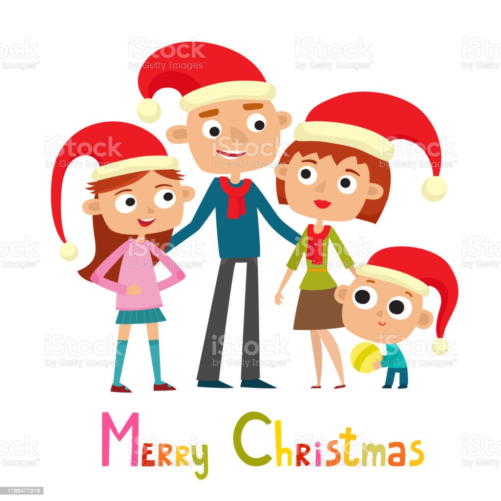 Cute Family In Cartoon Style Isolated On White Stock Illustration Download Image Now Istock