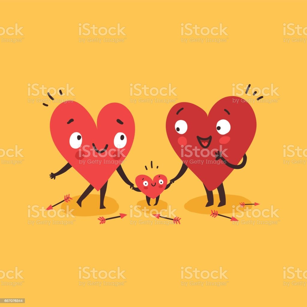 Cute family, parents with child. Hearts characters as symbols of love and family. vector art illustration