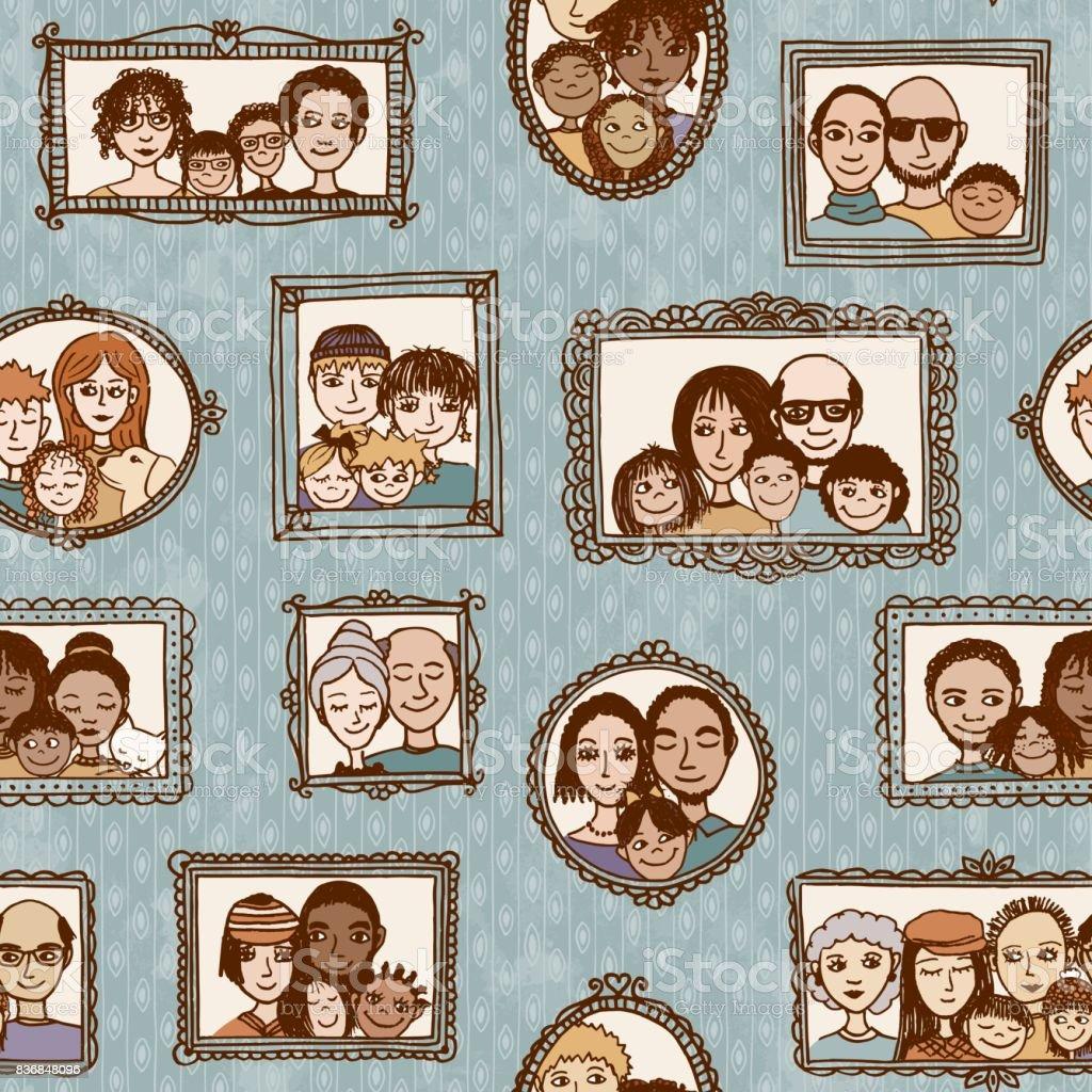 Cute family pattern vector art illustration