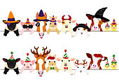 cute farm animal babies border set with Halloween costumes and with Christmas costumes