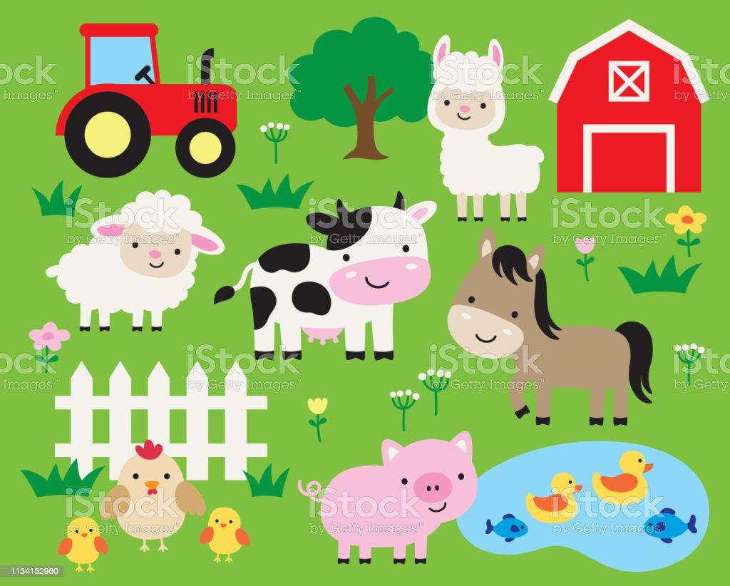 Cute Farm Animal Cartoon Vector Illustration Stock