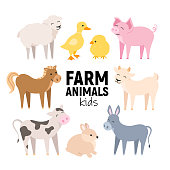 Cute farm animals cow, pig, lamb, donkey, bunny, chick, horse, goat, duck isolated. Domestic animals kid set vector illustration on white