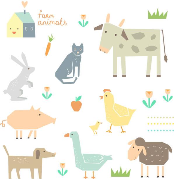 süße farm tiere in vektor - - entenhaus stock-grafiken, -clipart, -cartoons und -symbole