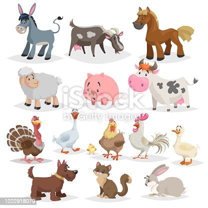 Cute farm animals set. Collection of cartoon vector drawings in flat style. Donkey, goat, horse, sheep, pig, cow, turkey, duck, rooster and hen, goose, dog, cat, rabbit. EPS10 + JPEG preview.
