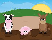 Cute Farm Animals with Banner for Your Text. Image separated into layers for easy editing.