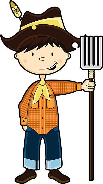 cute farm boy character - plaid shirt stock illustrations