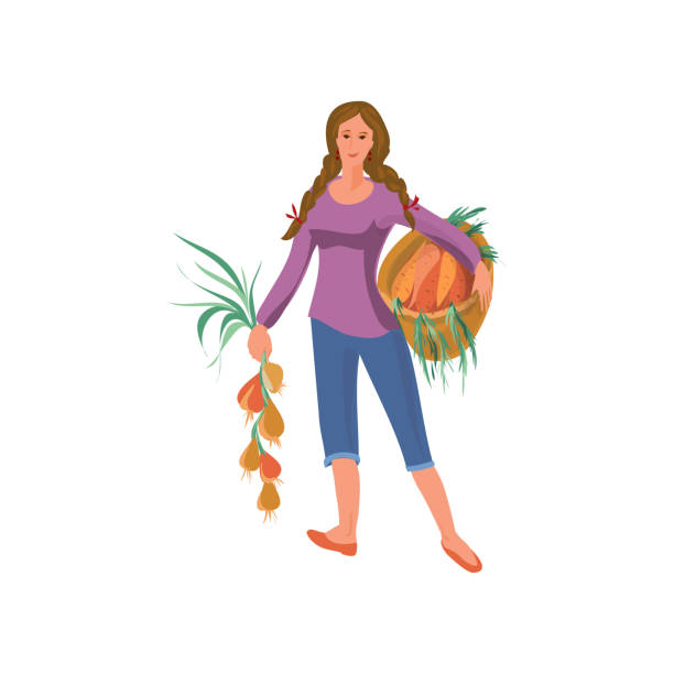 Cute farmer woman takes eco onion and carrots Cute farmer woman takes eco onion and carrots from natural garden. Cartoon style. Vector illustration on white background crucifers stock illustrations