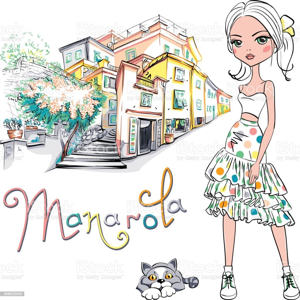 Cute fashion girl in Manarola, Italia vector art illustration