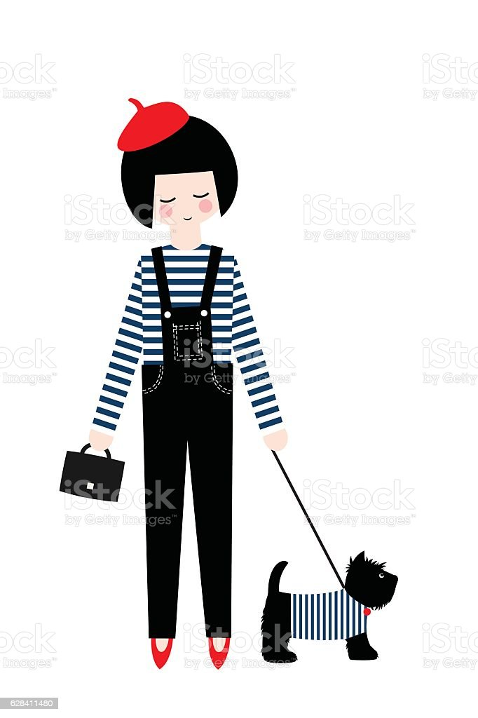 Cute fashion girl with scottish terrier on white background. vector art illustration
