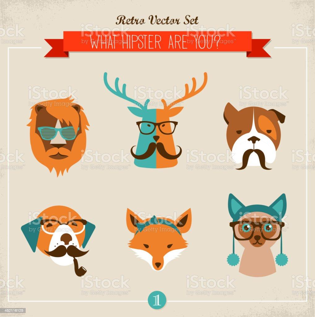 Cute fashion Hipster Animals & pets vector art illustration