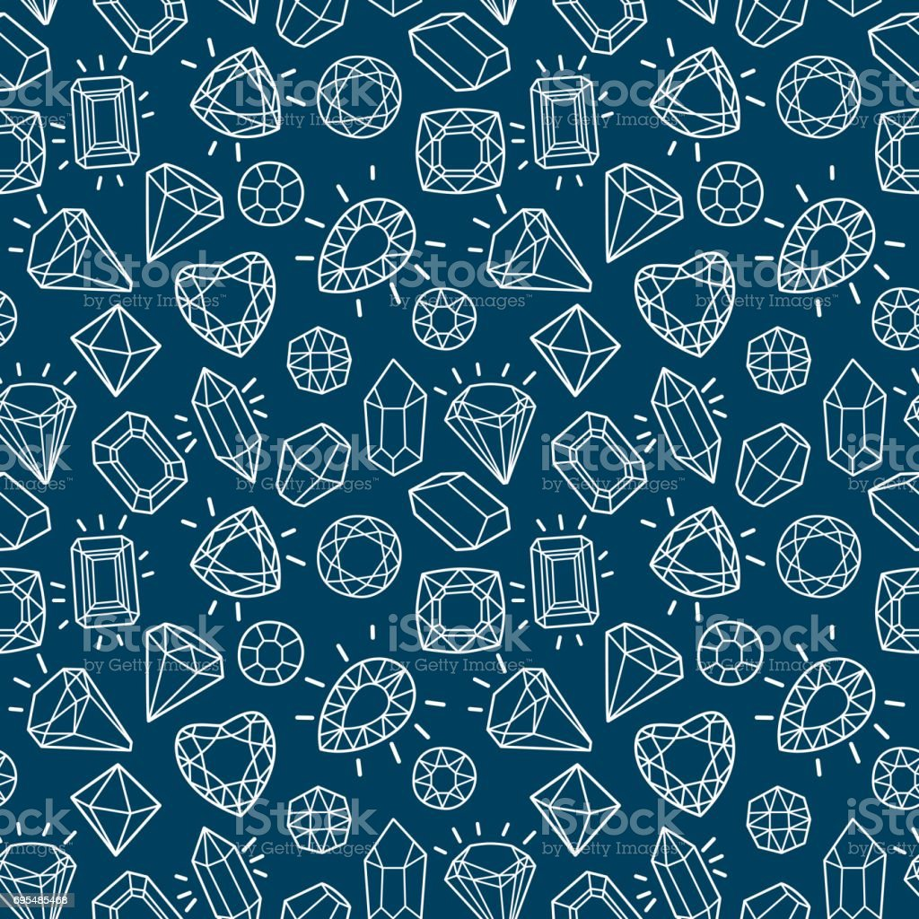Cute fashion seamless pattern with gems and diamonds. vector art illustration
