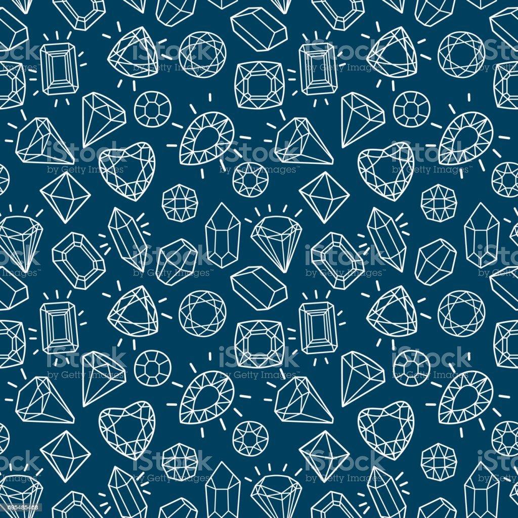 Niedliche Mode Musterdesign mit Edelsteinen und Diamanten. – Vektorgrafik