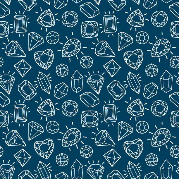 cute fashion seamless pattern with gems and diamonds. - gemstone stock illustrations, clip art, cartoons, & icons