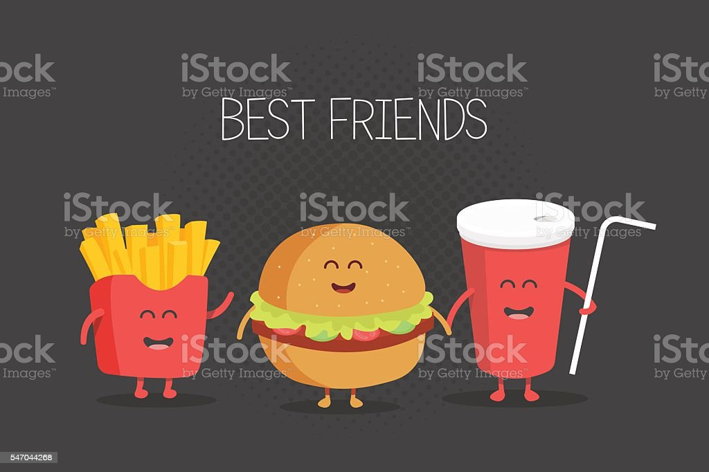 Cute fast food burger, soda, french fries – Vektorgrafik