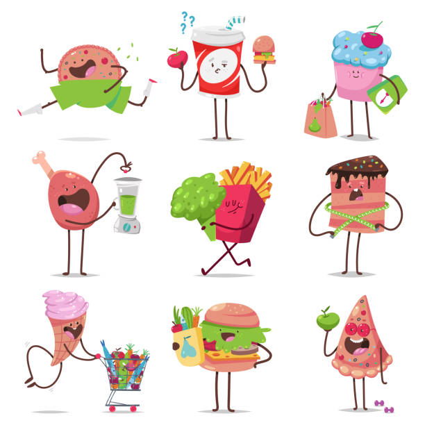 cute fast food characters on diet vector cartoon set isolated on a white background. healthy and unhealthy food concept illustration. - burger and chicken stock illustrations