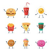 Set of cute fast food characters icons: burger, soda, pizza slice, french fries, cup of coffee, egg, ice cream and macaron. Vector illustration in cartoon style isolated on white background