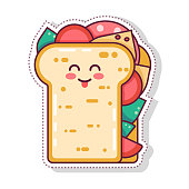 cute fast food poster design with vector kawaii sandwich character Cartoon  Isolated print for greeting card. post card. flyer, badges, sticker, poster, postcard, patches, banner, scrapbooking