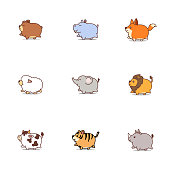 Cute fat animals cartoon icon set, vector illustration