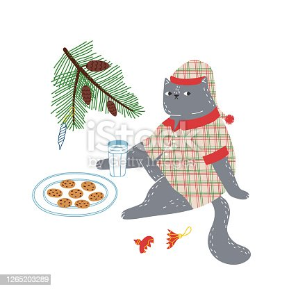 A cute fat cat dressed in pajamas and a nightcap is waiting for Santa Claus to arrive with milk and cookies. Cute Christmas vector illustration.