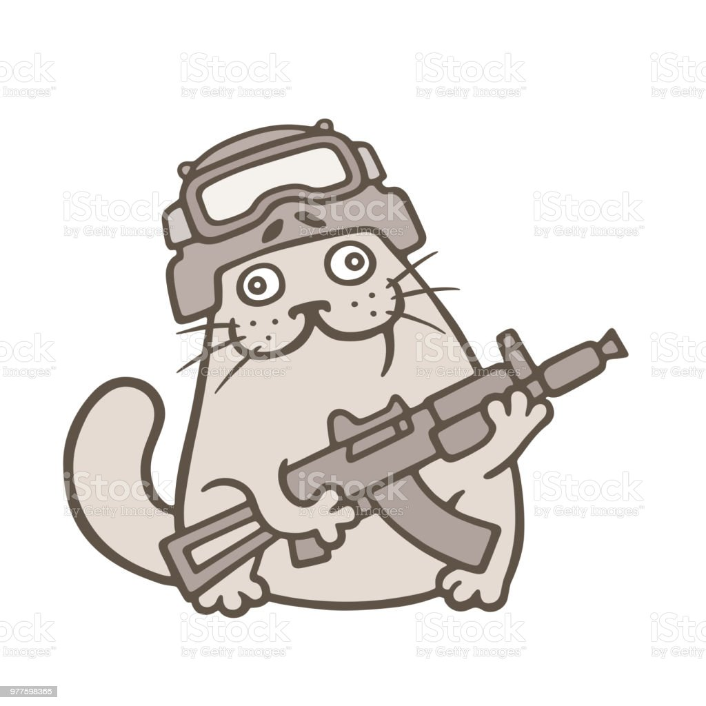 かわいいデブ猫は、swat の戦闘機です。ベクトル図 ベクターアートイラスト