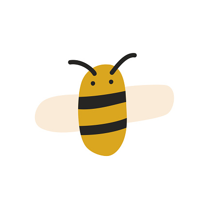 Cute fat little bee in doodle style. Logo scandinavian baby print in yellow and black colors. Print for coloring book, t shirt, cup, child clothes. cartoon honey insect