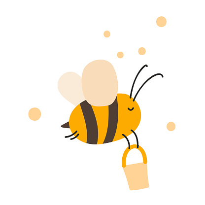 Cute fat little bee with bucket in doodle style. Logo scandinavian baby print in yellow and black colors. Print for coloring book, t shirt, cup, child clothes. cartoon honey insect