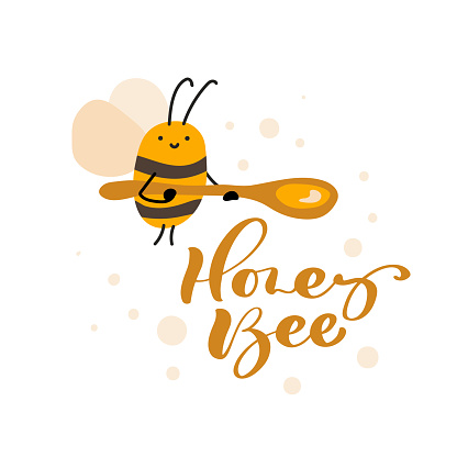 Cute fat little bee with spoon in doodle style and calligraphy text Honey Bee card. Logo scandinavian baby print in yellow and black colors. Print for coloring book, t shirt, cup, child clothes, poster
