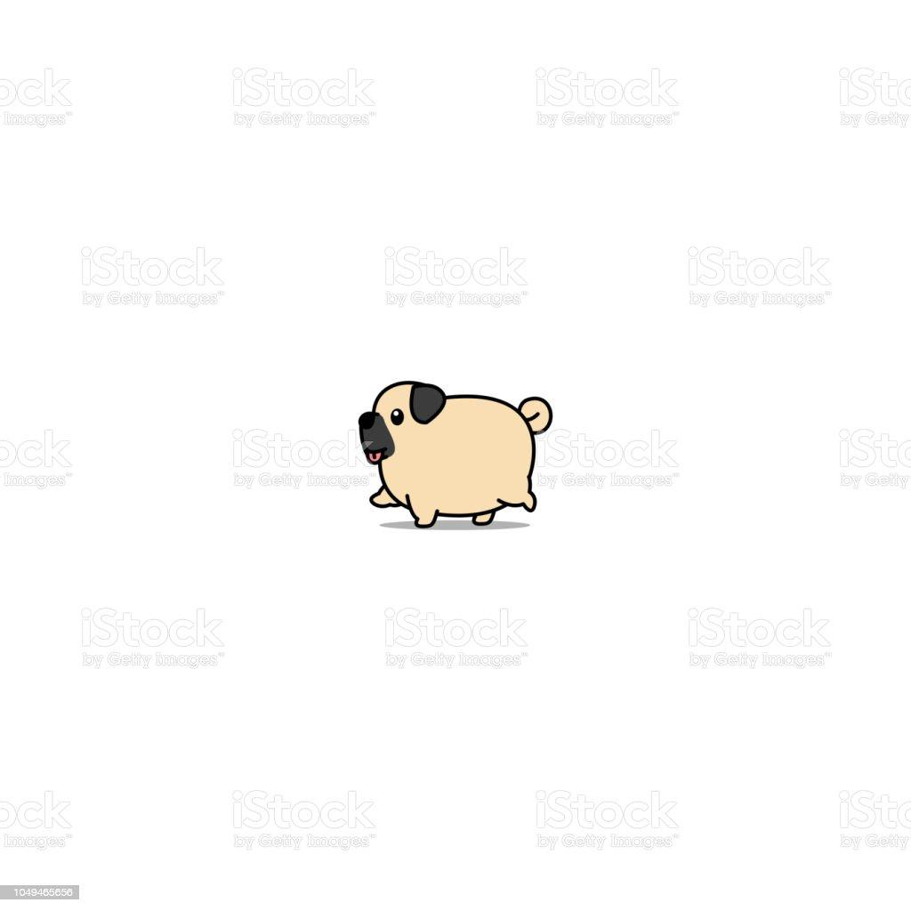 かわいい脂肪パグ犬歩く漫画アイコンベクトル イラスト アイコンの