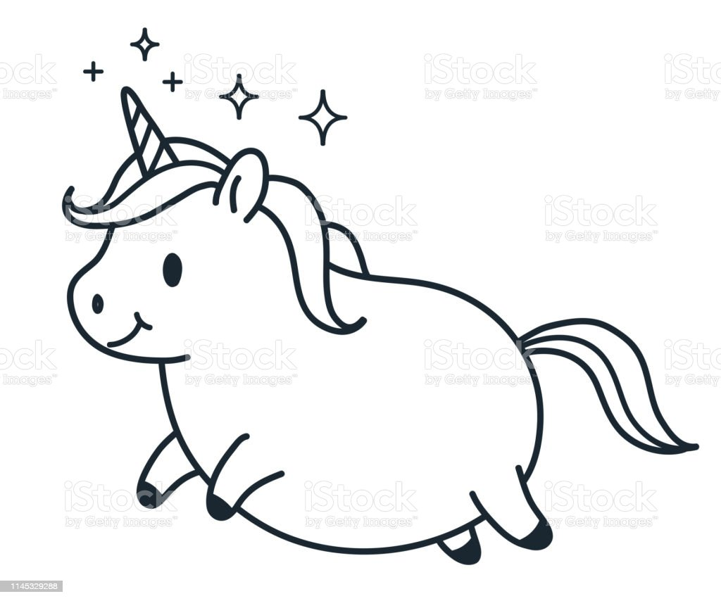 Cute Fat Unicorn Simple Doodle Cartoon Character Vector ...