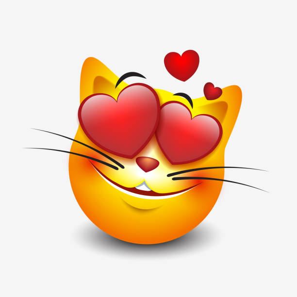 cute feeling in love cat emoticon isolated on white background - smiley - vector illustration - kiss stock illustrations