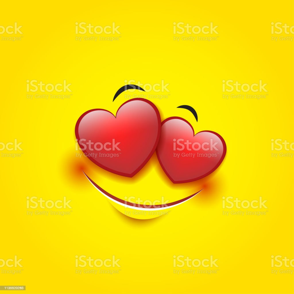 Cute feeling in love emoticon isolated on yellow background smiley vector illustration illustration