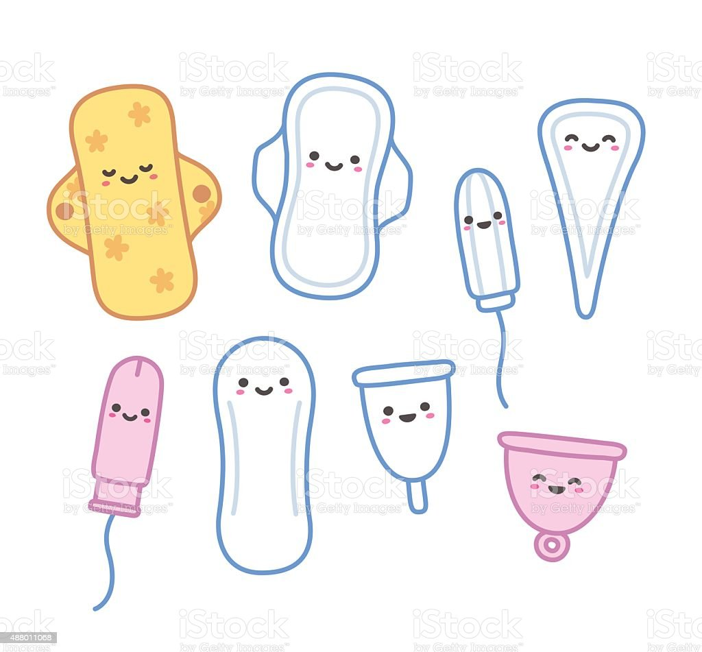 Cute feminine hygiene products vector art illustration