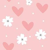 Cute feminine seamless pattern. Cartoon flowers, hearts and dots. Pastel colour. Vector illustration.