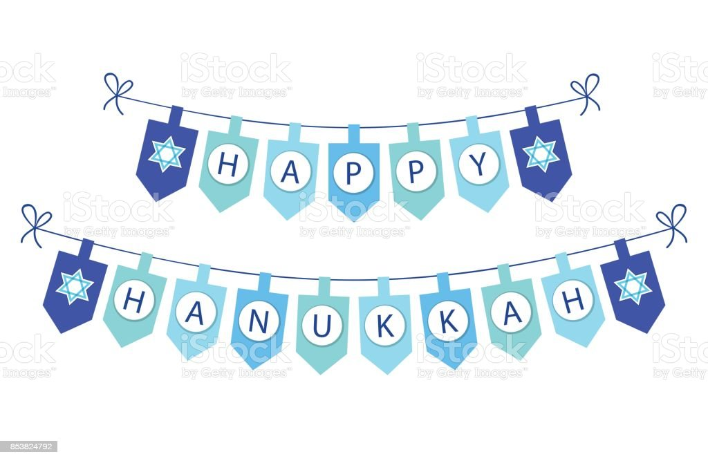 Cute festive bunting flags Happy Hanukkah in traditional colors vector art illustration