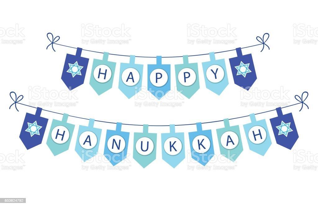 Mignon bunting festive drapeaux Hanukkah heureux aux couleurs traditionnelles - Illustration vectorielle