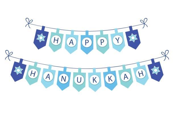 ilustraciones, imágenes clip art, dibujos animados e iconos de stock de linda fiesta del empavesado banderas feliz hanukkah en colores tradicionales - jánuca